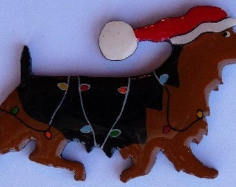 Australian Terrier Christmas Pin, Magnet or Ornament -Free Shipping -Hand Painted- Free Personalization Available