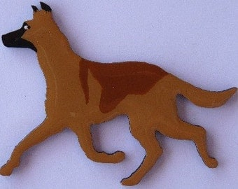 Belgian Malinois Pin, Magnet or Ornament -Free Shipping -Hand Painted