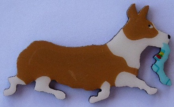 Corgi Pin, Magnet or Ornament-Pembroke or Cardigan-Color Choice-Hand Painted-Free Shipping