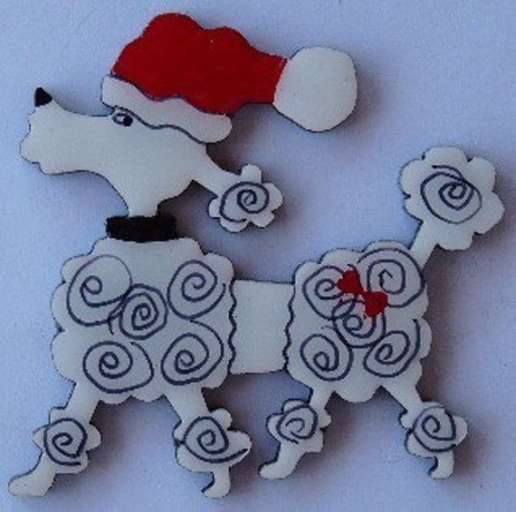 Whimsical poodle christmas pin magnet or ornament color choice free
