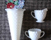 Milk glass cream and sugar set
