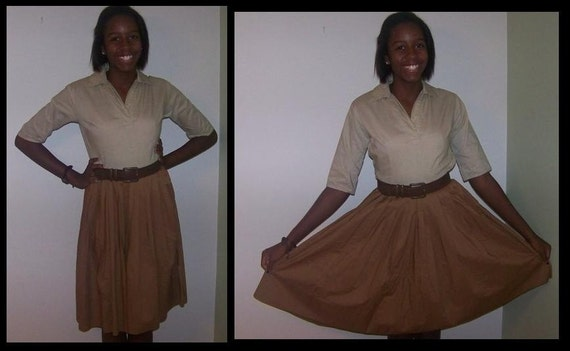 Tan and brown shirt dress with full, pleated skirt - 1950s style