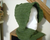 eco yarn scoodie crocheted in asparagus