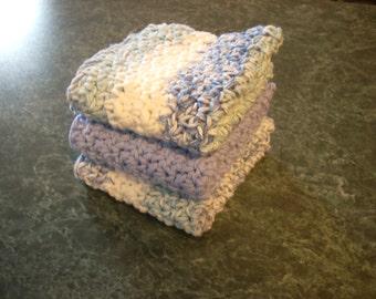set of three large dishcloths or washcloths