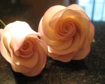 sugar/fondant roses wedding cake topper