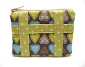Hearts and Polkadots Mini Zipper Pouch-Brown, Blue, and Green