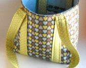 Heart Fabric Shoulder Bag Tote-Brown and Blue with Lime Green Polkadot Trim