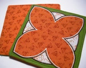 Fabric Coasters Set of 4 Leaf Woodland Brown and Green Embroidered Applique