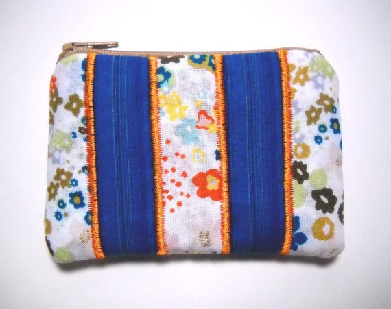 Change Purse White and Teal with Orange Embroidery