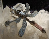 SERENITY Pink Tourmaline Dragonfly Sterling Silver Necklace OOAK