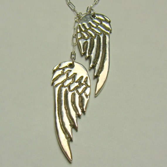 Guardian Angel Wings Pendant Sterling Silver Necklace