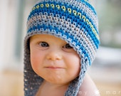 Boys Winter Hat, Baby Boy Photo Prop, Crochet Hat, Sizes 6-12 or 12-24 Months, Blue, Lime, and Grey Stripe Earflap Beanie