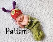 Crochet Pattern, Caterpillar Hat and Cocoon, Crochet Newborn Photo Prop Pattern, Punte Bella