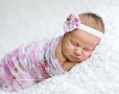 Pink Floral Ruffle Cocoon and Headband Set, Newborn Photo Props