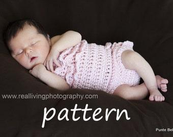 Crochet PATTERN, Ruffle Romper Pattern, Newborn Photo Prop Instant Download