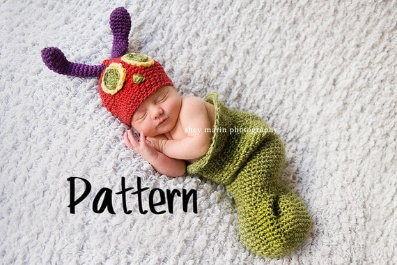 Crochet Pattern | Very Hungry Caterpillar Hat and Cocoon | newborn photo prop | Instant Download by Girl Plus Yarn