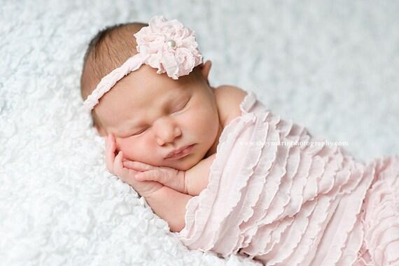 Pink Mini Ruffle Cocoon and Braided Headband, Newborn Photo Props