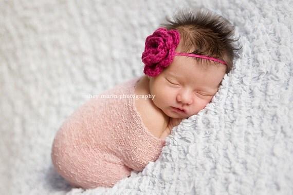 Azalea Baby Girl Headband, Crochet Flower Headband, Newborn Photo Prop, Ready to Ship