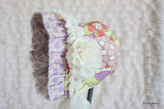 Newborn Bonnet, Baby Girl Hat, Lavender Dots, Ready to Ship