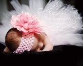 Teeny Belle Pink Newborn Tutu with Satin Covered Waistband and Coordinating Flower and Headband