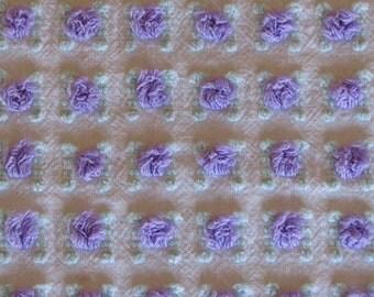 Purple Rosebud Vintage Chenille Bedspread Fabric FQ 18 x 24