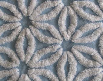Sky Blue Hofmann Daisy Vintage Chenille Bedspread Fabric 25 x 34