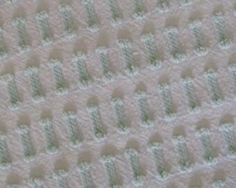 "Pastel Green Buttonhole Vintage Chenille Bedspread Fabric Piece 37"" x 22.5"""