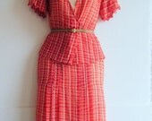 Reserved.....1920's / 1930's dress, pink sweetheart and red fishtail suit dress with matching jacket, size m - l