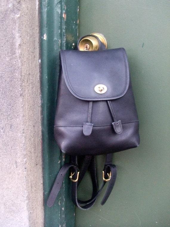AUTHENTIC Black Leather COACH Mini BACKPACK PURSE