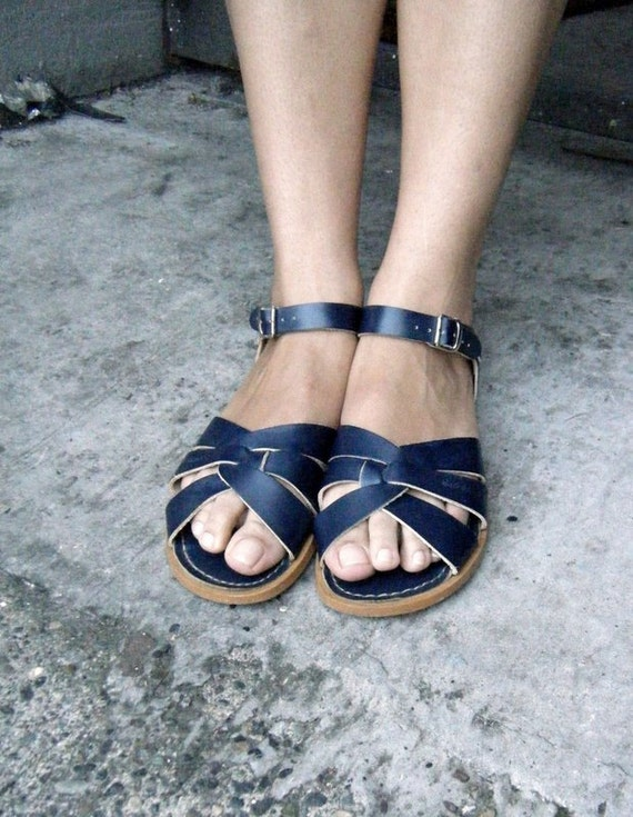 San Sun Vintage Surfer Salt Water Sandals In Navy Blue