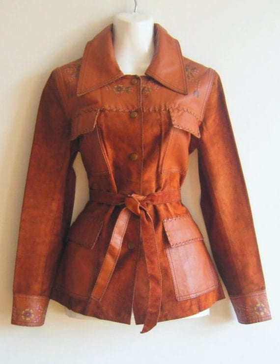 Reserved.......1970's CHAR design by BRANDY painted leather jacket, size s - m