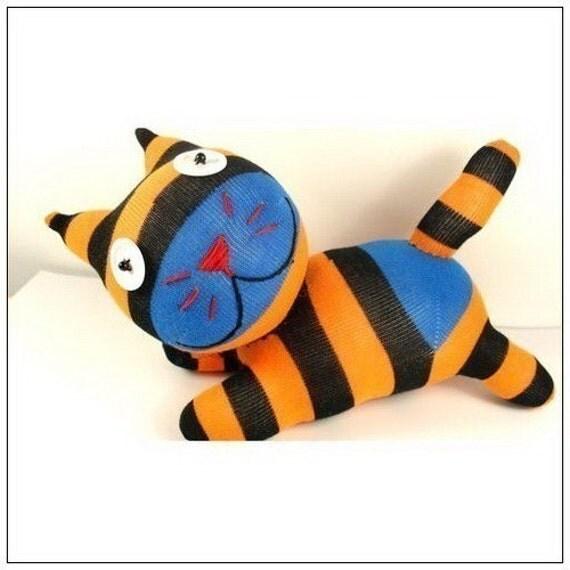 Handmade Sock Cat Kitty Stuffed Animal Doll Baby Toys