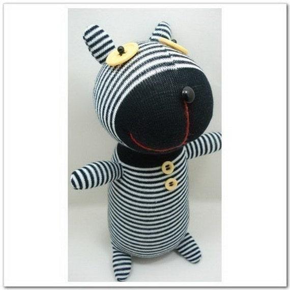 Free Shipping Handmade Narrow Black Striped Sock Dog Stuffed Animal Doll Baby Toys