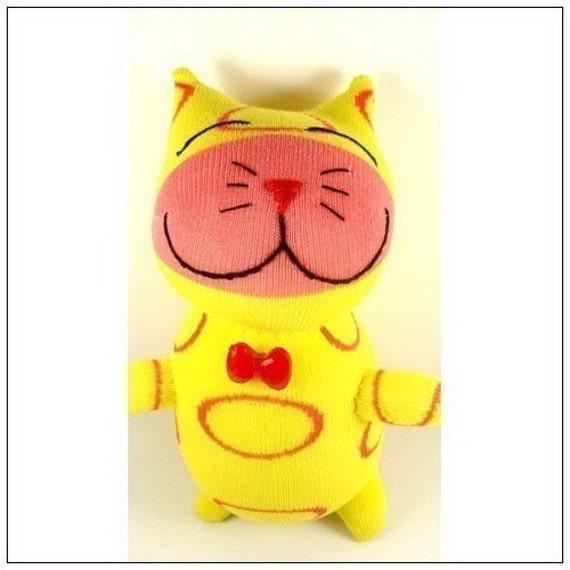 Handmade Red Circle Print Yellow Sock Cat Kitty Stuffed Animal Doll Baby Toys