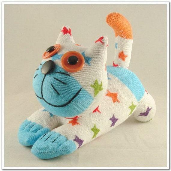 Free Shipping Handmade Sock Cat Kitty Stuffed Animal Doll Baby Toys
