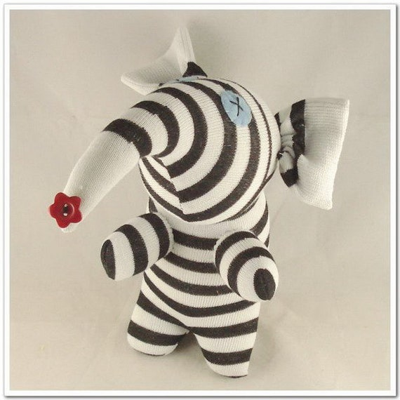 Free Shipping Handmade Black Striped Sock Elephant Stuffed Animal Doll Baby Toys