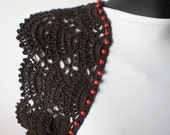 RESERVED   Chocolate Brown Crochet Shrug Bolero
