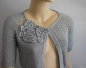 Reserved for R. Light Gray Hand Knitted Cardigan Shrug