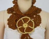 Gold and Mustard  Crochet Scarf - Neck Warmer - Fall Fashion