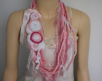 Boho Hippie Gypsy Crochet  Scarf   with Freeform Pin Infinity Scarf  Loop Scarf - Scarf Necklace