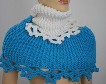 20% Off White and Turquoise hand knitted  Chunky Scarf- neck warmer - Infinity Scarf  - Cowl Circle Scarf