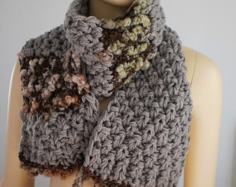 SALE   Long Beige  Hand knit Scarf , Knitted cowl ,Chunky scarf ,Hand Spun Yarn, Winter Scarf, Warm Scarf