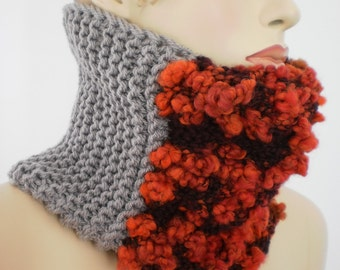 Fall Fashion - Hand Knit Cowl Scarf - Neck Warmer - Winter Accessories -  beige  red vinous scarf