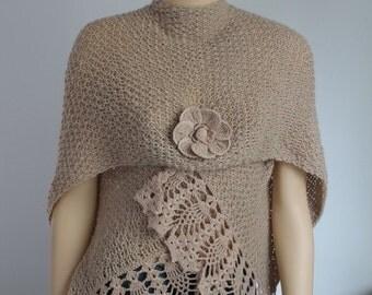Sale 30% OFF Light Beige Alpaca Hand Knit  Crochet Shawl Wrap Scarf Shrug