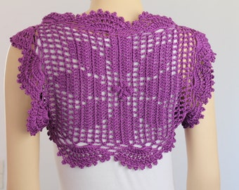 Crochet  Cotton Deep Lilac  Flower  Shrug Bolero / Fall  Spring Fashion