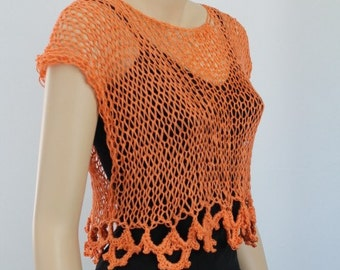 Sale Ready to ship Linen Orange Hand knit  Crochet Crop  Sweater Tank Top  Loose knit , Cover up , Beach, Summer ,Women