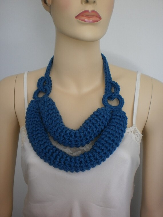 Knit Scarf , Knit Necklace, Knitted Cowl, Cobalt Blue Crochet Scarf  Necklace , Gift for her, Winter Accessories, Women Scarf, Ready to ship