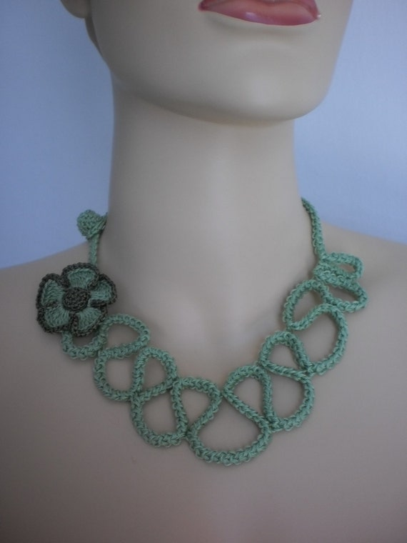 Light Green Crocheted Necklace