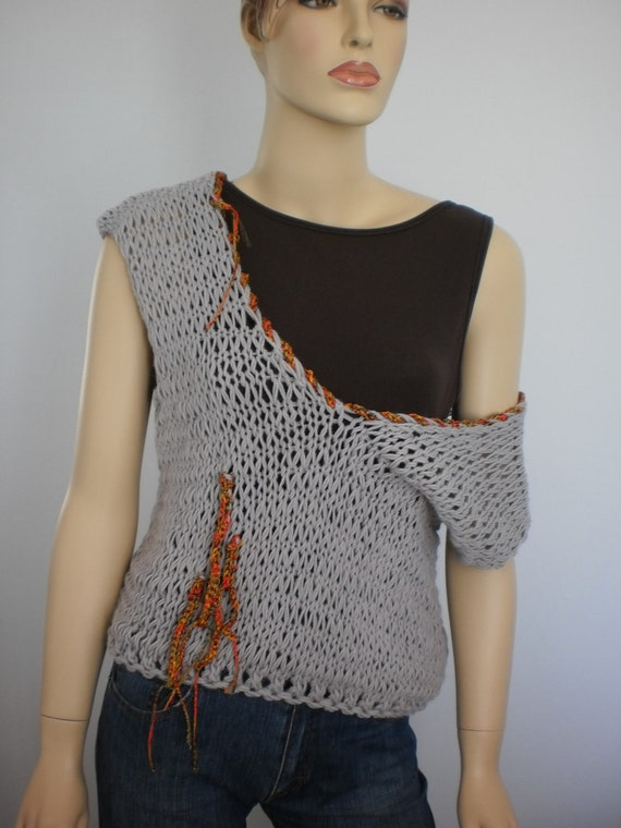 Reserved for Anne Hand Knitted  Wool  Top Vest / Fall Fashion / L- XL