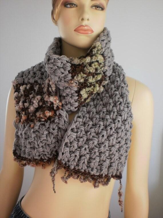 SALE   Long Beige  Hand knit Scarf , Knitted cowl ,Chunky scarf ,Hand Spun Yarn, Winter Scarf, Warm Scarf